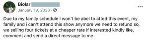 facebook ticket scams, ticket scam, fake tickets
